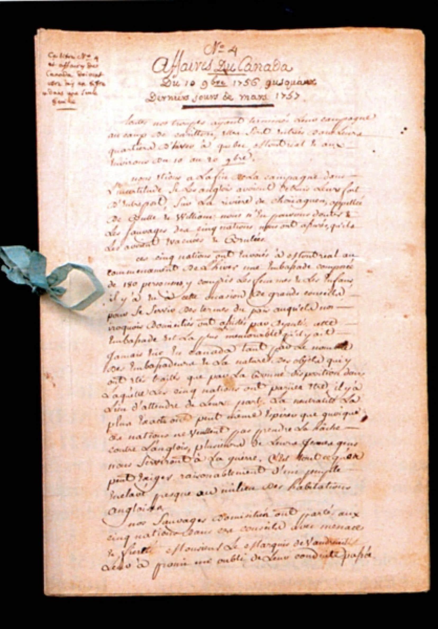 Une page du manuscrit du Journal de Montcalm<br />