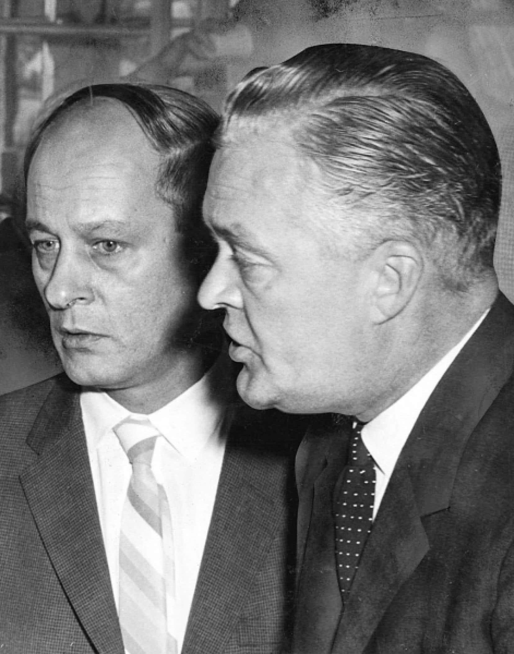 René Lévesque et Jean Lesage photographiés en 1962