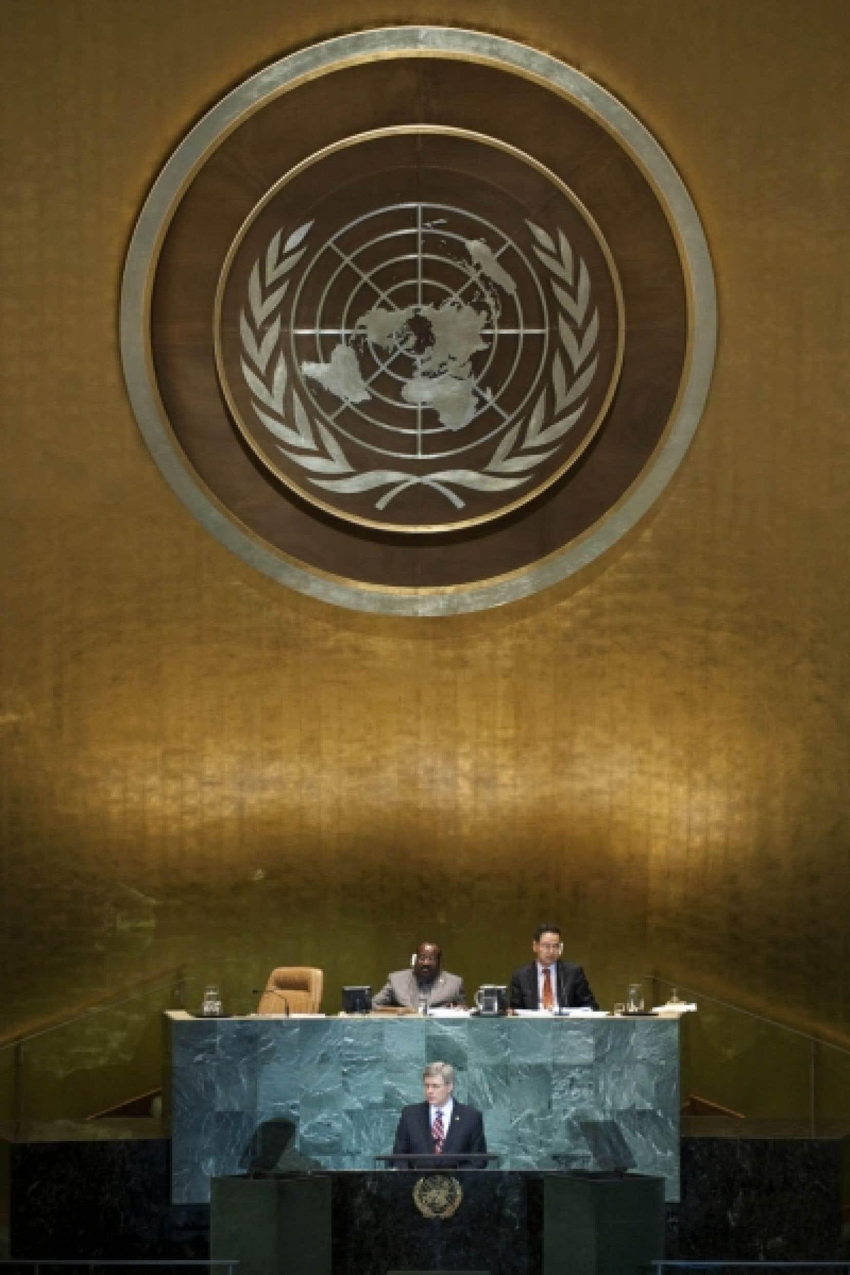 «Cette assemblée devrait savoir que le Canada est éligible au Conseil de sécurité. Si nous sommes élus, nous serons prêts à servir», a déclaré hier Stephen Harper à l'ONU.<br />