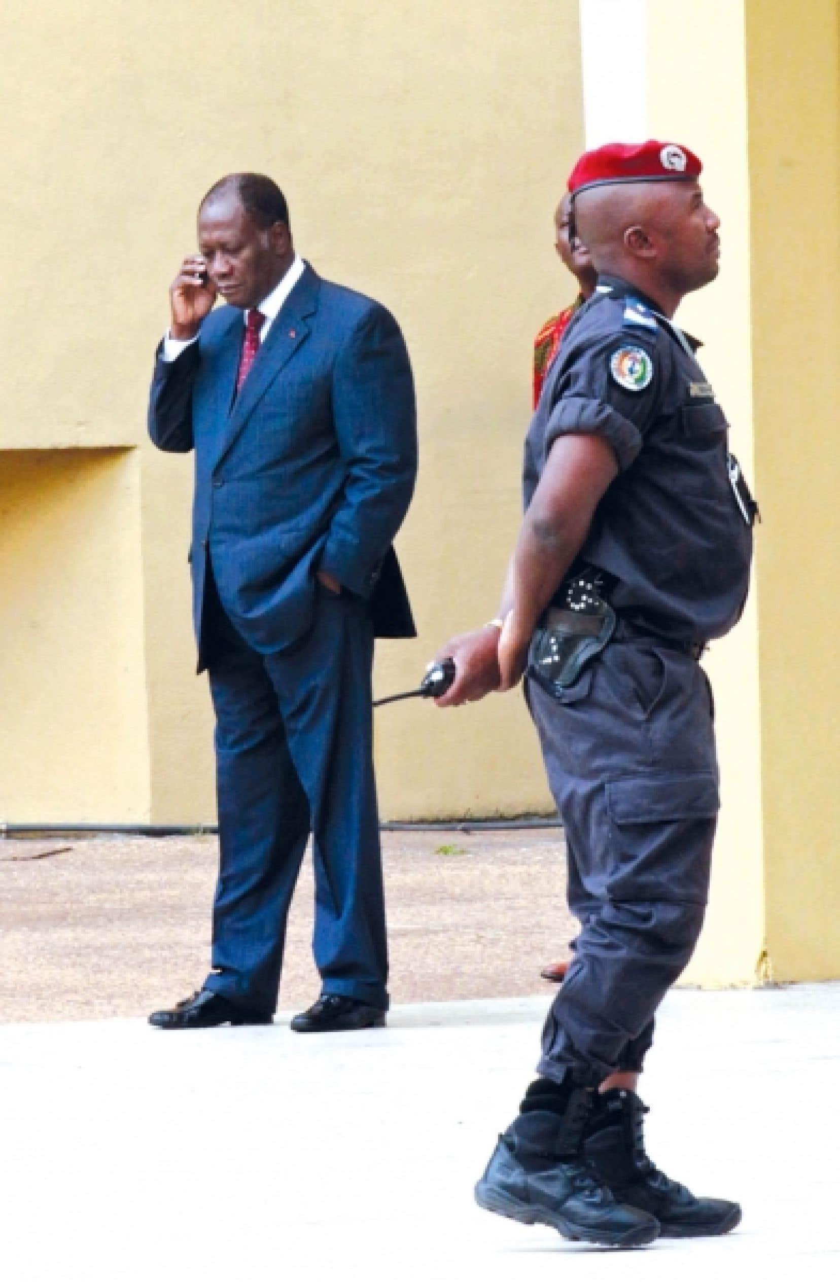 Allasane Ouattara, hier, à Abidjan. <br />