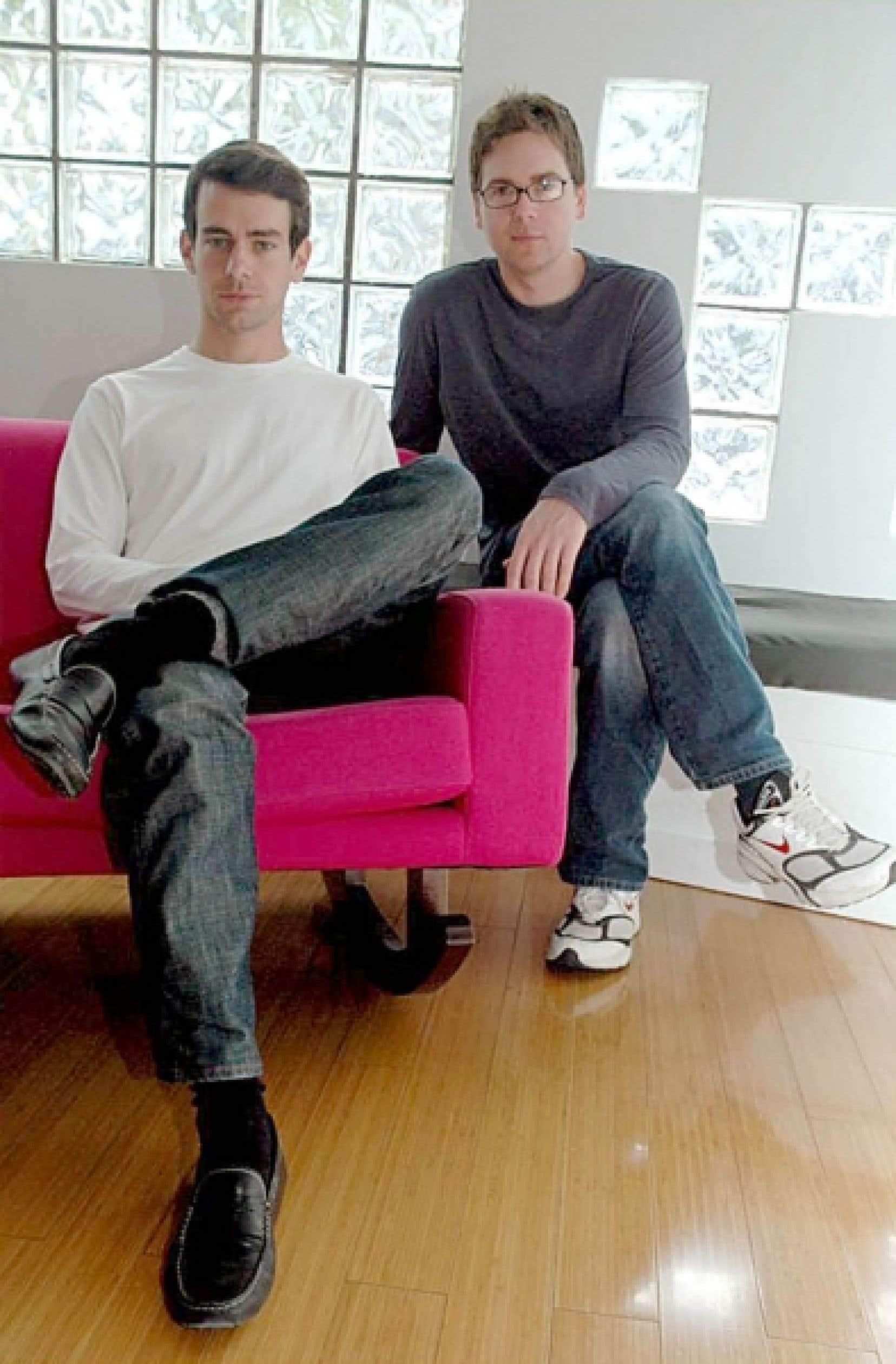 Jack Dorsey et Biz Stone, deux des trois fondateurs de Twitter.<br />