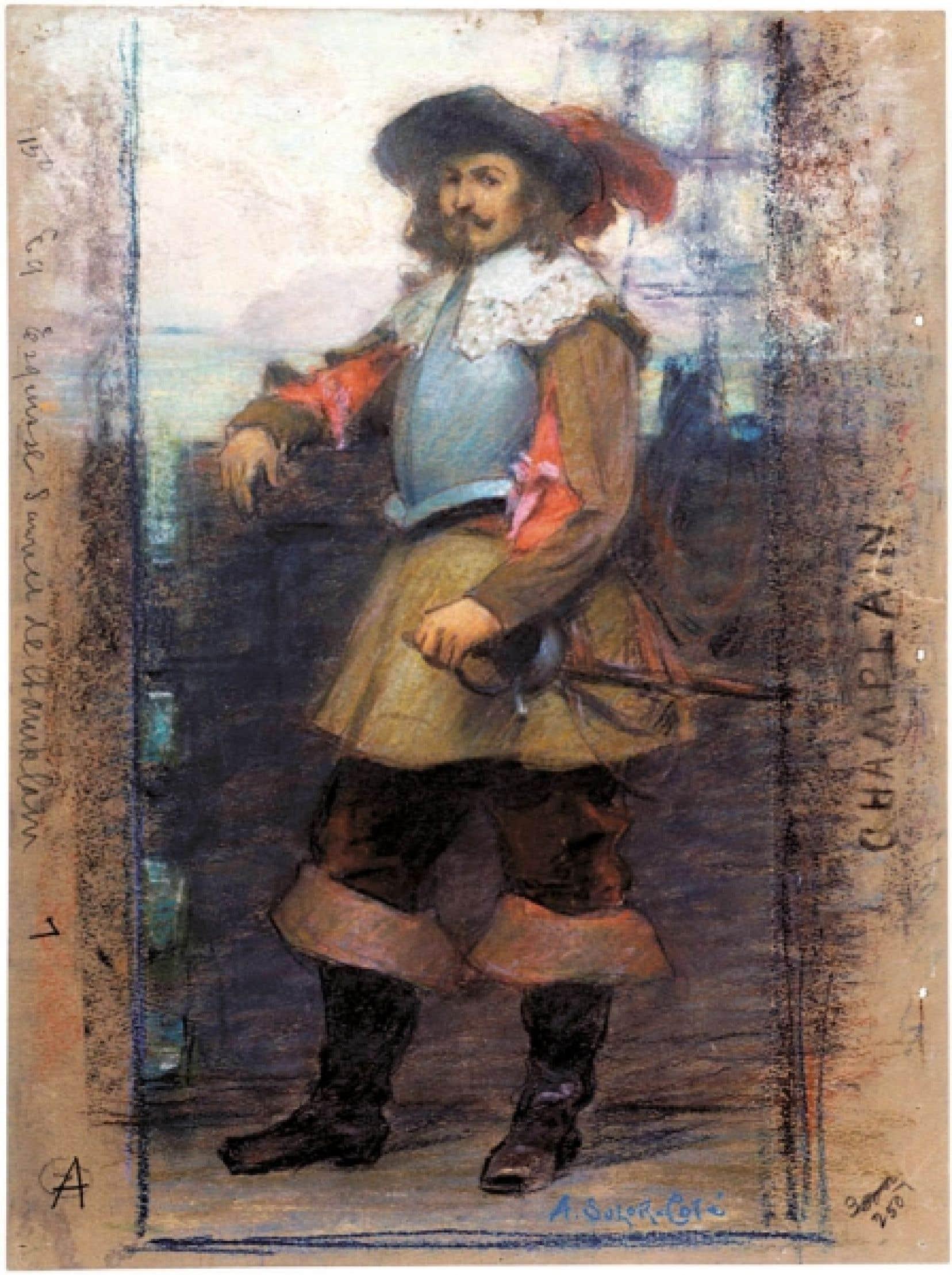 Marc-Aurèle de Foy Suzor-Coté Étude pour L'Arrivée de Samuel de Champlain à Québec, 1908 ou 1909 Pastel sur papier 37,8 x 28,5 cm Coll. Musée national des beaux-arts du Québec