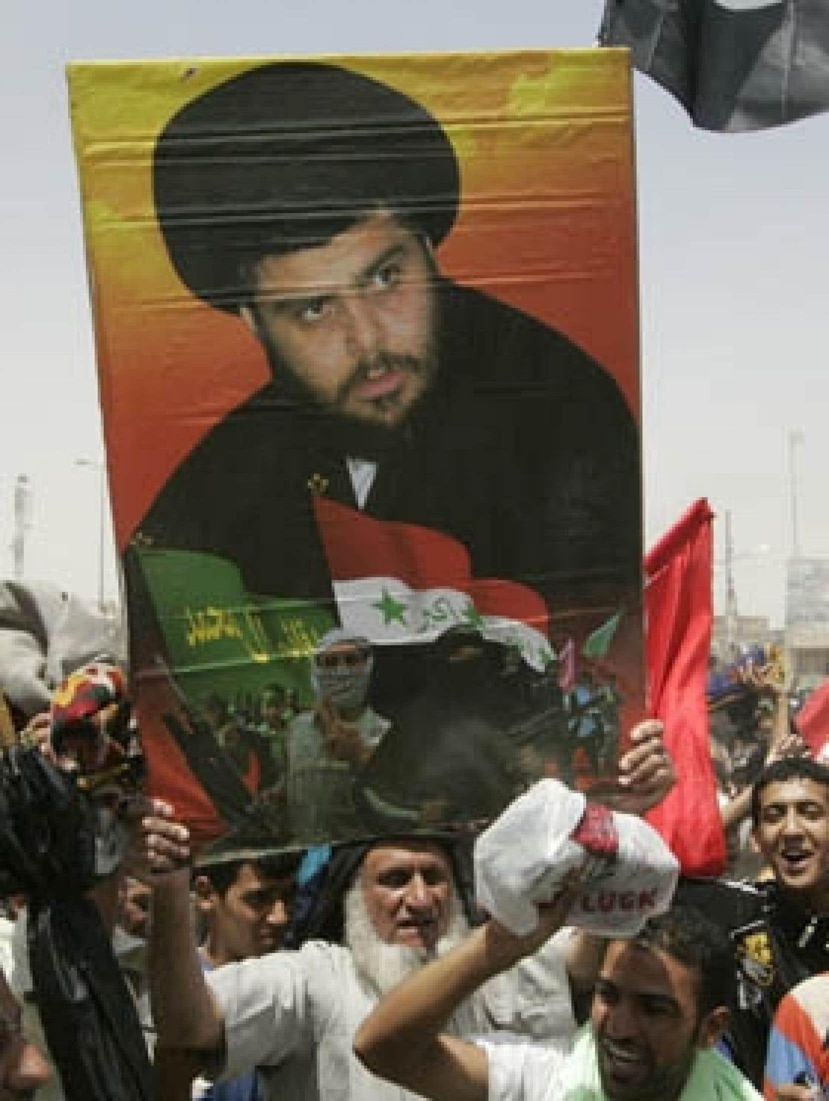 Manifestation de partisans du leader chiite dans le quartier de Sadr City à Bagdad hier