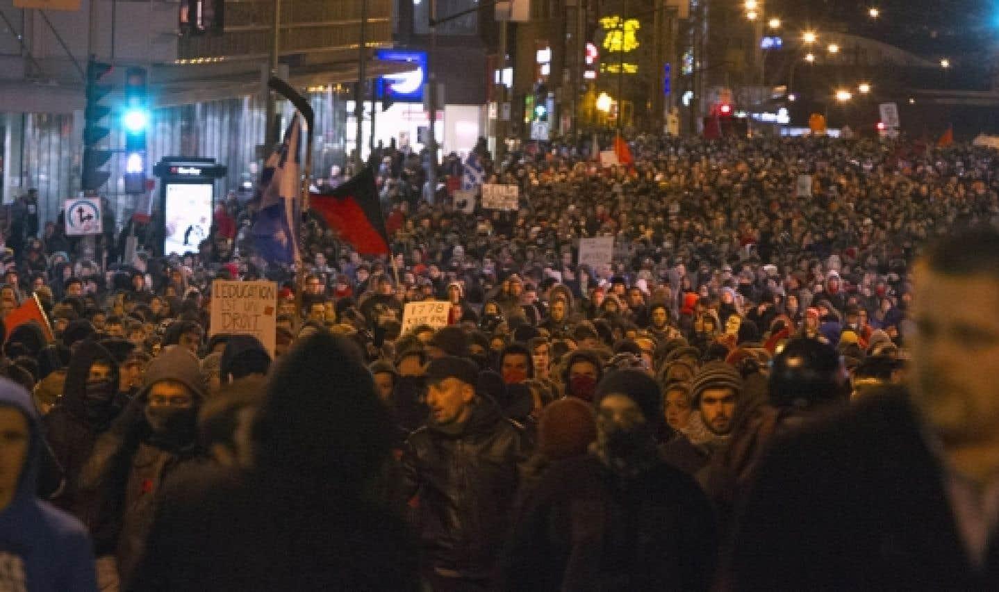 Manifestation d'hier soir à Montréal.