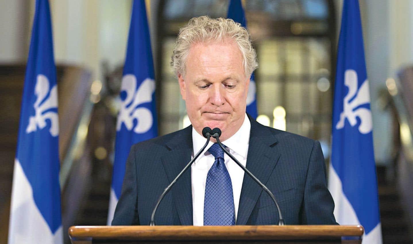 Jean Charest annonçant sa démission, le 5 septembre dernier, au lendemain de la défaite électorale des libéraux