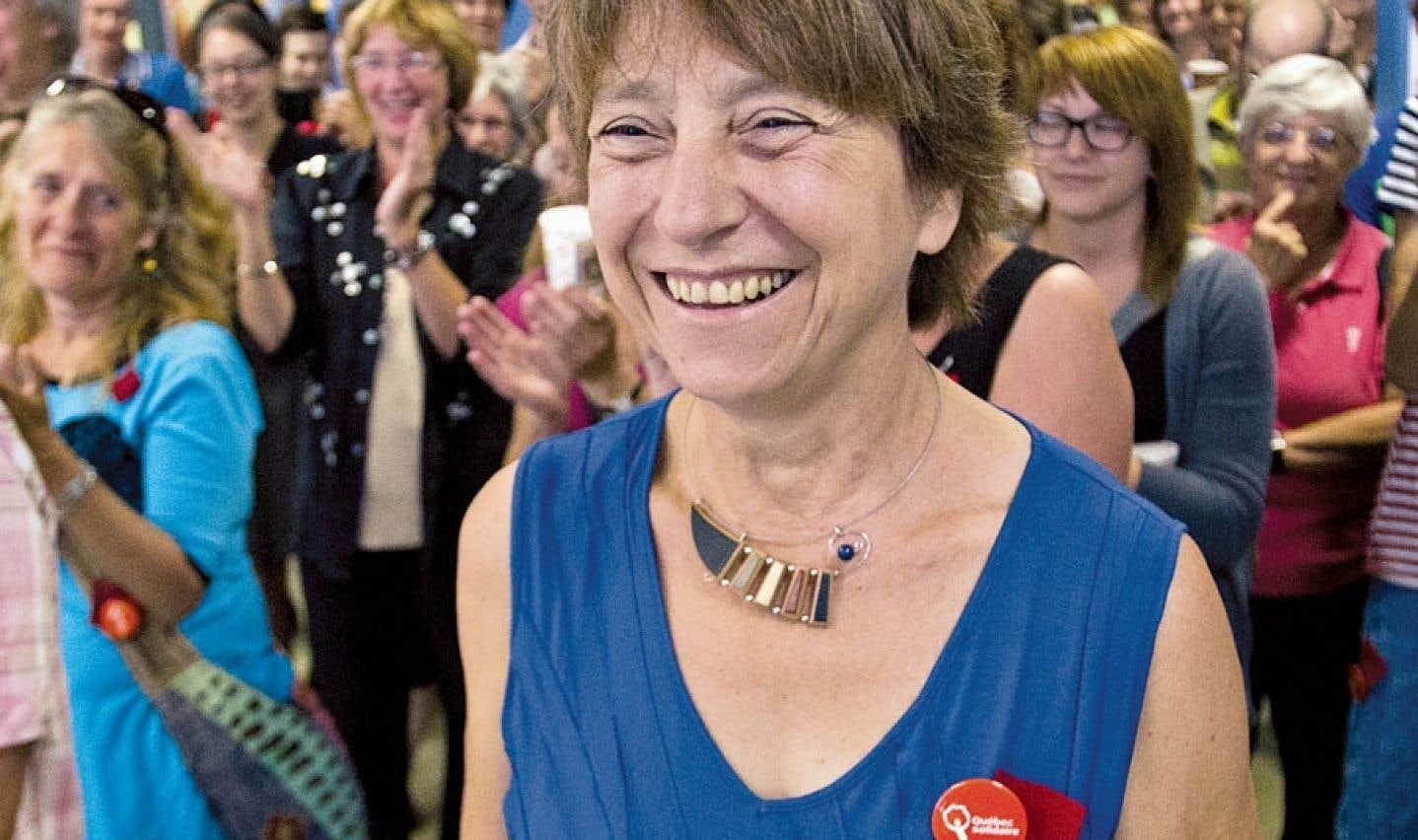 Françoise David, co-porte-parole de Québec solidaire, qui a recruté 50% de candidates à la dernière élection générale au Québec en 2012.