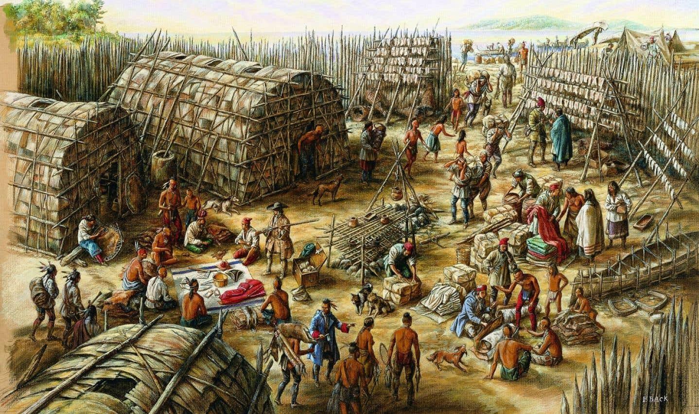 Scène de vie des premiers Montréalais transigeant avec des Amérindiens, illustrée par Francis Back.
