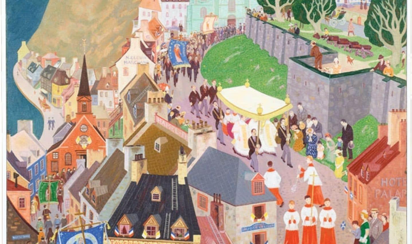 Jean Paul Lemieux, La Fête-Dieu à Québec, 1944. Huile sur toile, 152,7 x 122 cm. Coll. MNBAQ.