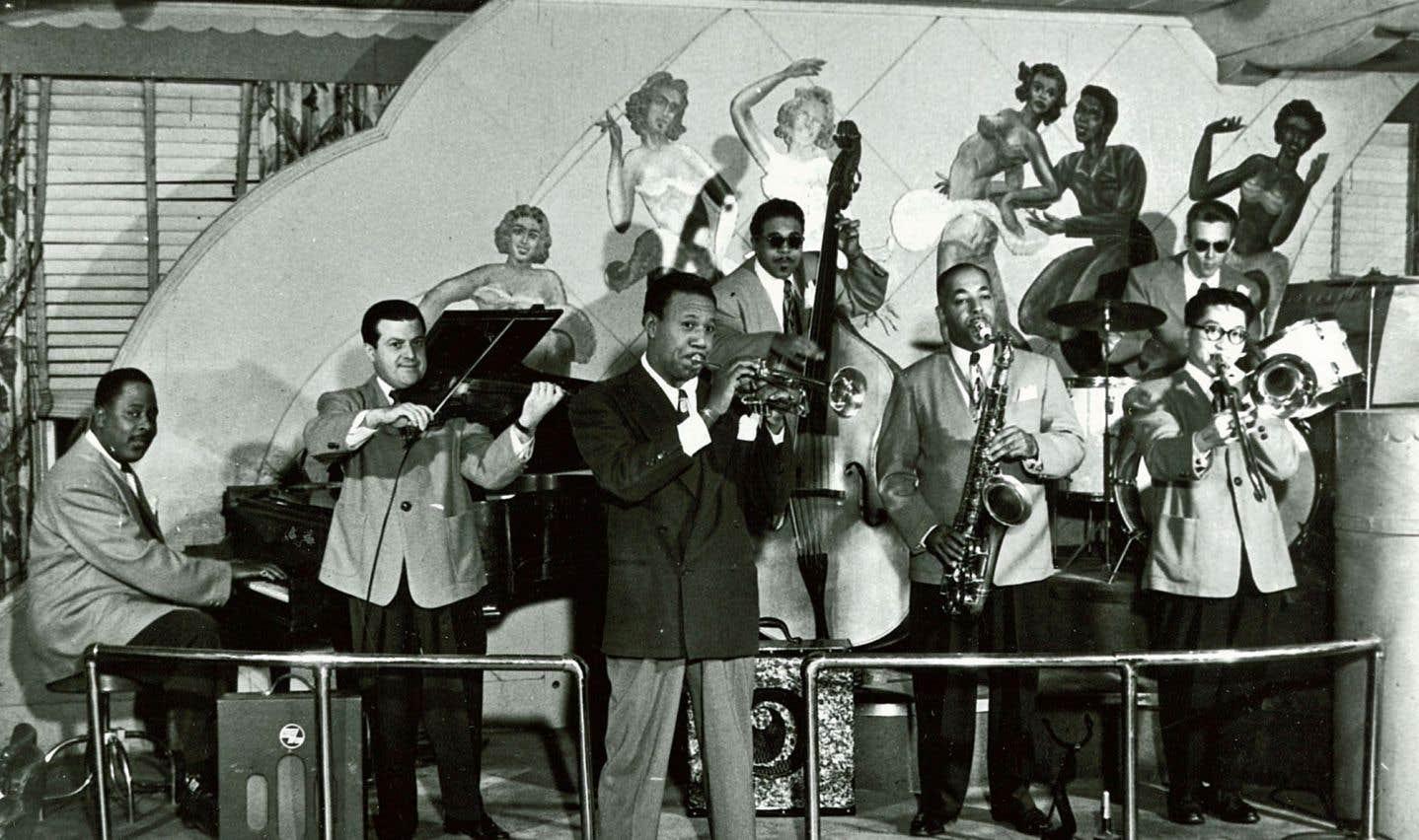 Le Café St-Michel, autre lieu mythique de la scène jazz montréalaise. Ci-dessus l'International Band de Louis Metcalf en 1947.