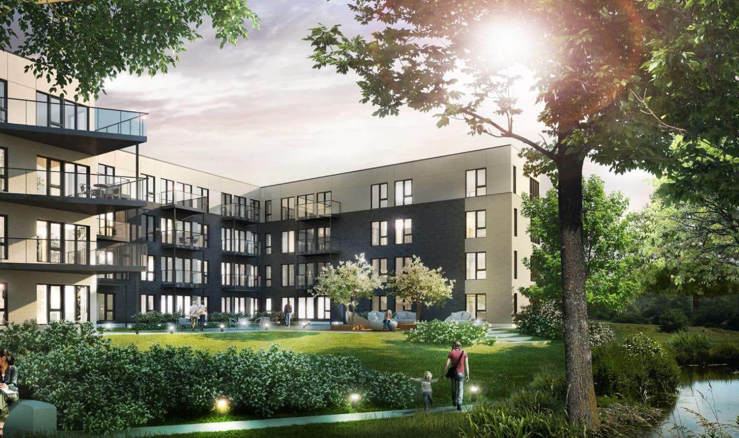 Située à quelques pas d'un vaste parc traversé d'un ruisseau et orienté vers une cour intérieure, cette dernière phase du projet comprendra 71 habitations.