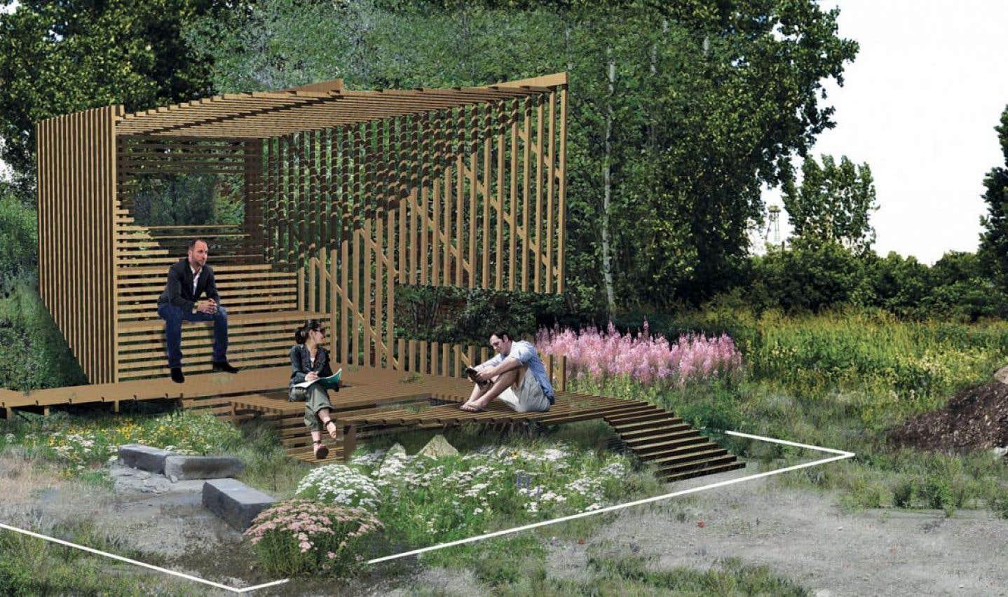 Let it be… nature, par l'Atelier MAP, propose une structure où l'utilisateur vaque à ses occupations tout en admirant le spectacle qu'offre la nature en ville, de la friche jusqu'au balbutiement d'un boisé.