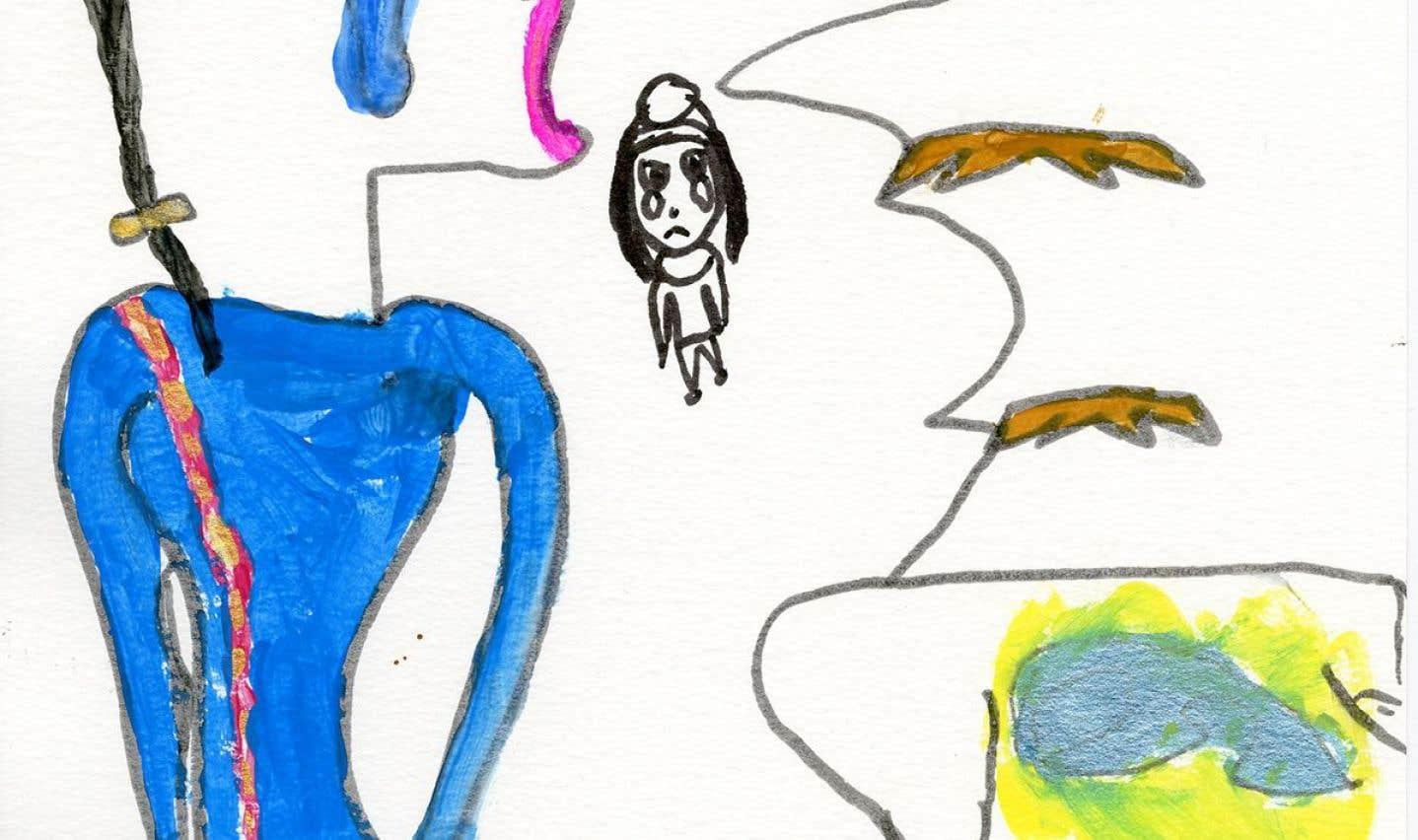 Dessin réalisé par un enfant de 5e année dans le cadre du projet «Ateliers de création auprès d'enfants: miser sur leurs conceptions de la violence conjugale et de ses solutions pour l'élaboration d'une stratégie préventive».
