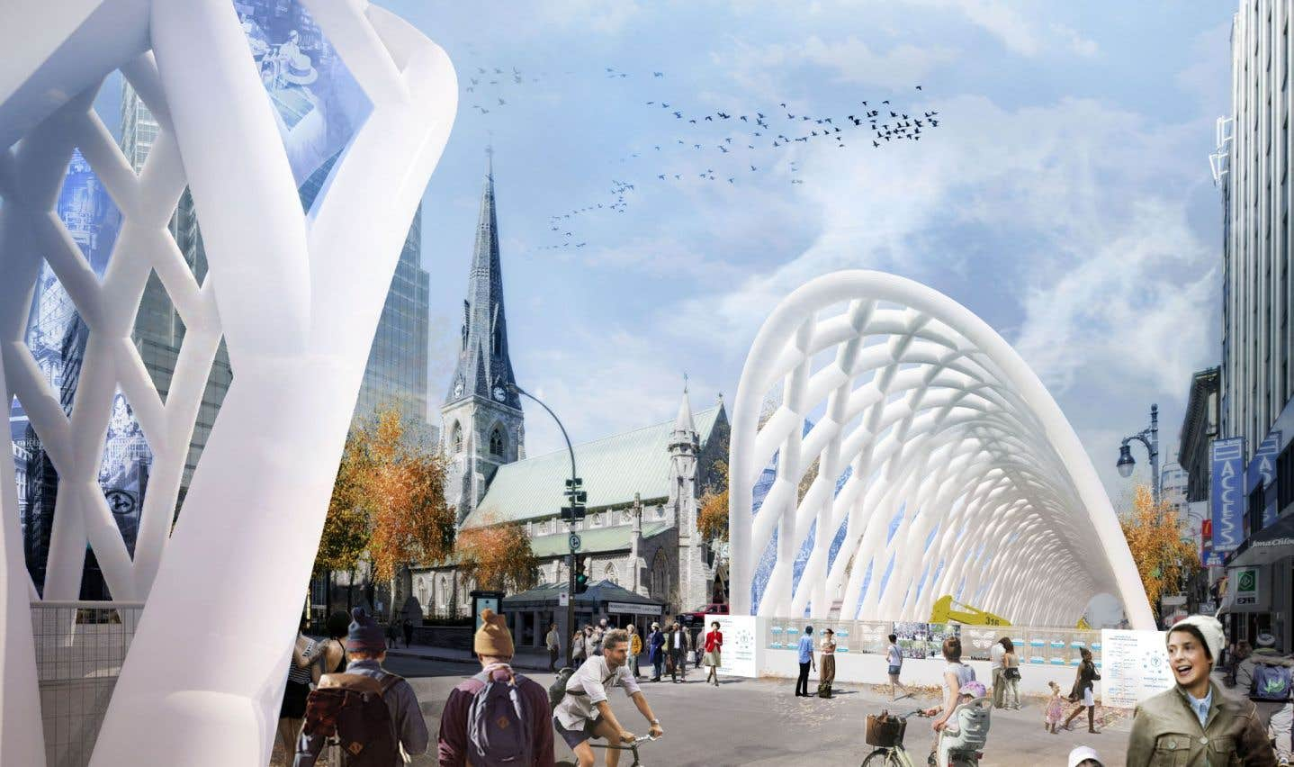 Le concours pour aménager le futur chantier de la rue Sainte-Catherine a permis à une jeune firme, Kanva architecture, de voir sélectionnée leur proposition de structure de grandes arches gonflables.
