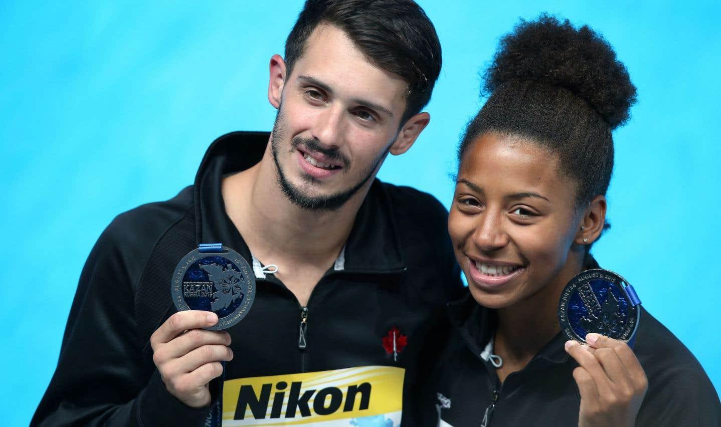 Jennifer Abel et François Imbeau-Dulac gagnent l'argent au 3m synchro