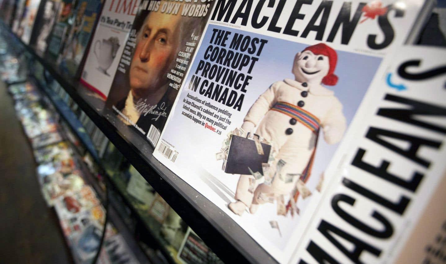 Le magazine «Maclean's» s'était attiré les foudres pour avoir qualifié le Québec de «province la plus corrompue au Canada» à l'automne 2010.