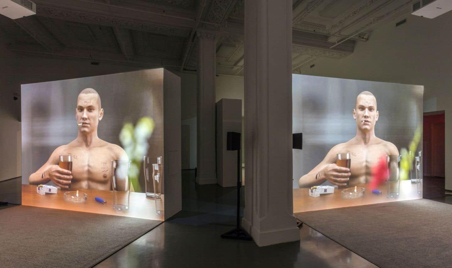 Vue sur l'œuvre «Ribbons» d'Ed Atkins, 2014, telle qu'exposée à la DHC/ART ces jours-ci