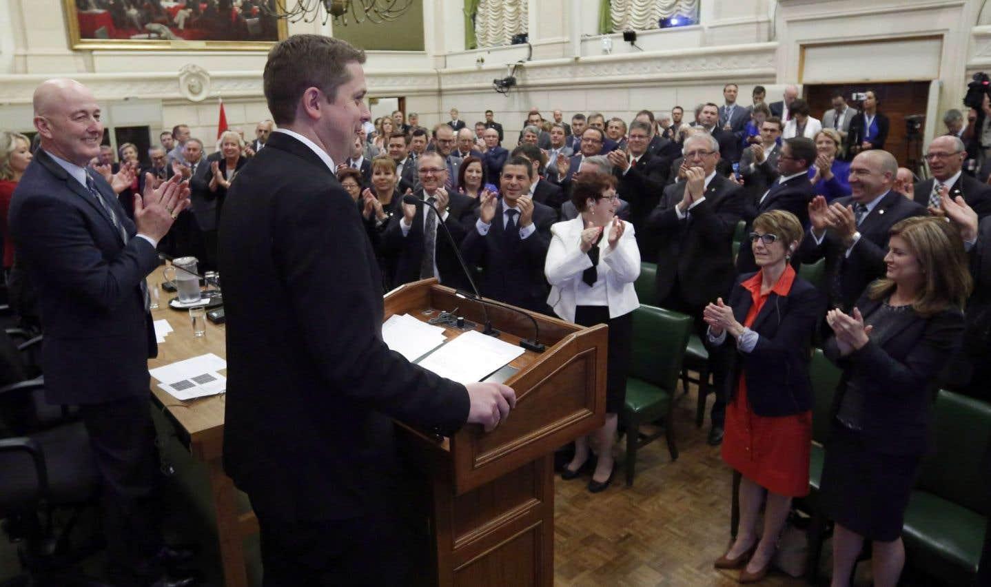 Le nouveau chef du PCC, , a réuni ses députés et sénateurs lundi matin à Ottawa pour leur livrer un discours.