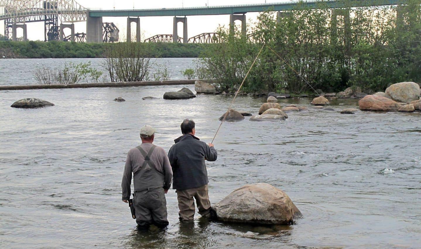 Notre journaliste apprend les rudiments de la pêche à la mouche dans les rapides de Sault Ste. Marie, devant le pont qui mène aux États-Unis.