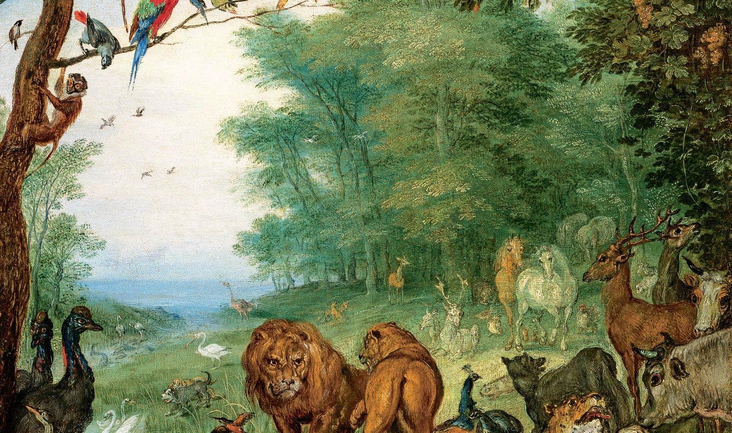 Paysage du paradis peuplé d'animaux et d'oiseaux dans une clairière, près d'un étang (1617 ou 1615), Jan Bruegel le Vieux