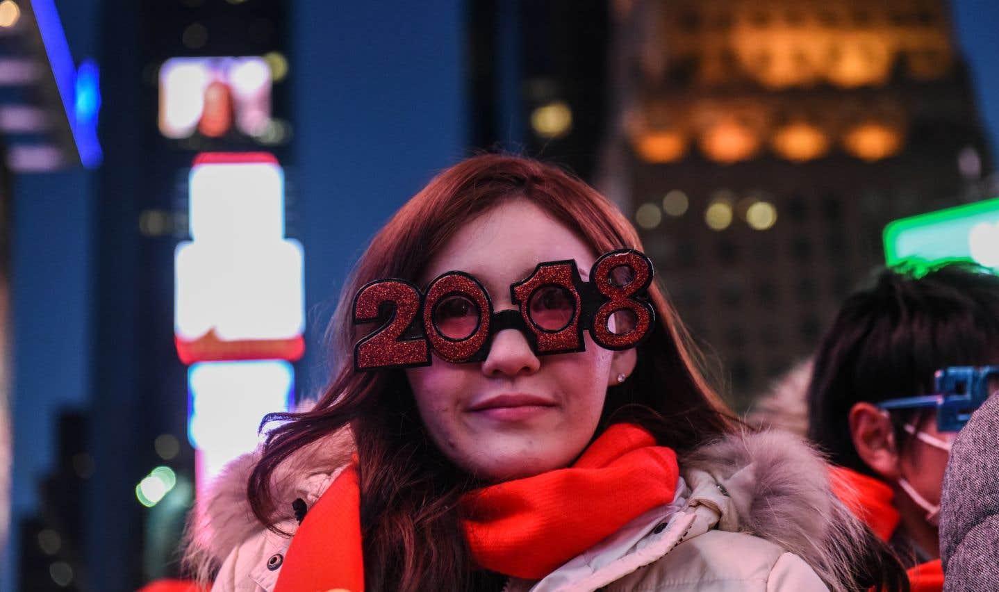 Les traditionnelles célébrations à Times Square (New York) où le thermomètre affichait -10°C.