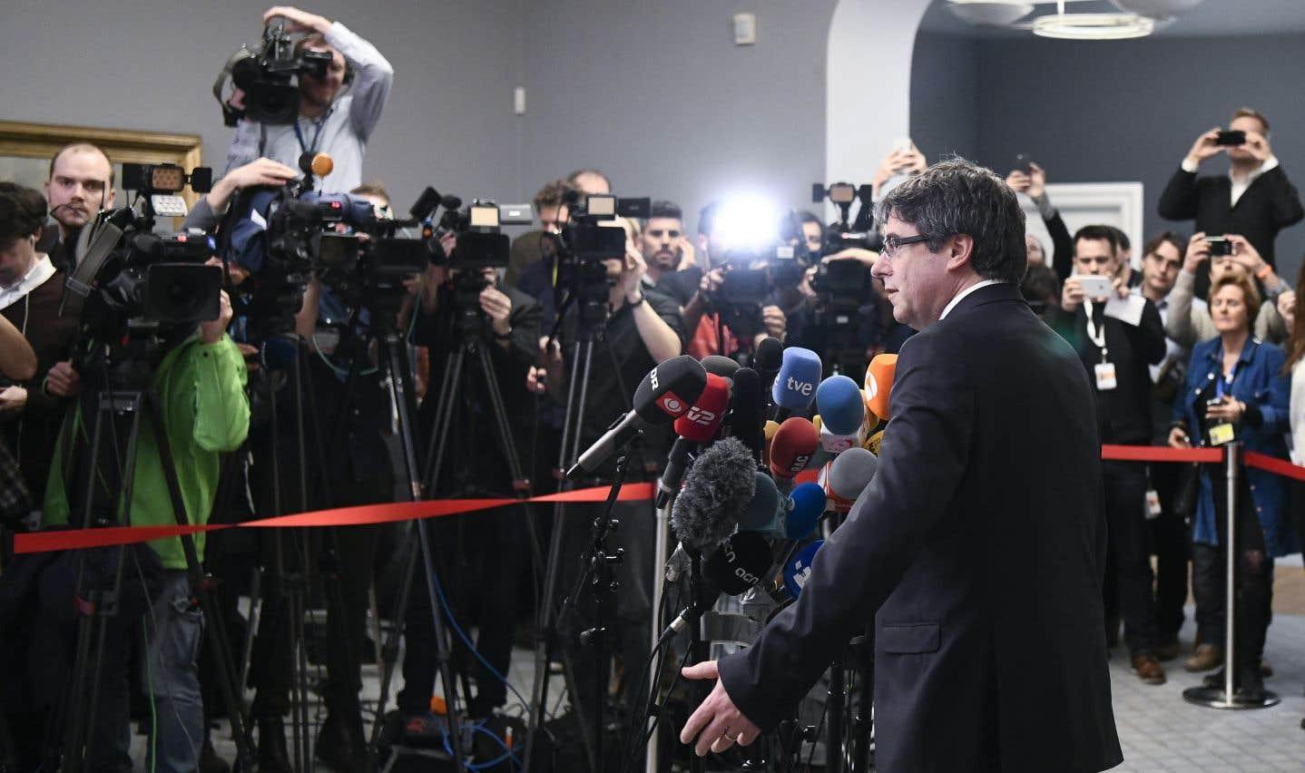 Carles Puigdemont s'est exprimé lorsd'une conférence de presse à Copenhague.