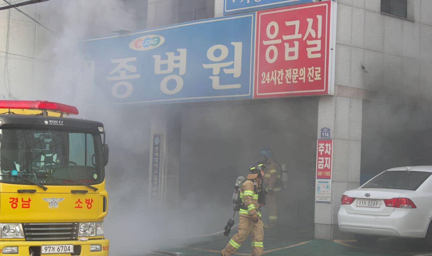 Tous les patients ont été évacués de l'hôpital et de la nurserie qui se trouvait dans le même bâtiment situé à Miryang.