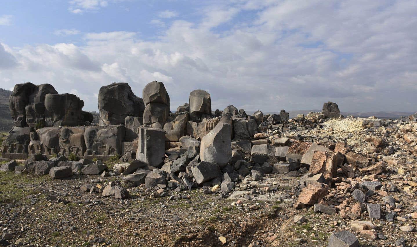 Cette photo publiée samedi par Hawar News, l'agence de presse des zones semi-autonomes kurdes en Syrie (ANHA), montre le temple d'Ain Dara.