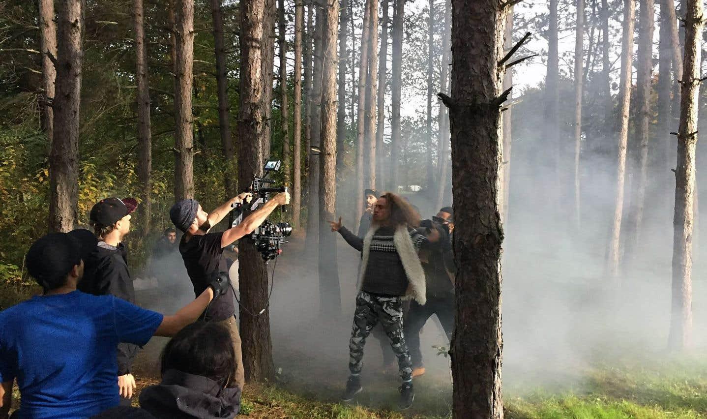 Tournage d'un vidéoclip d'Alaclair Ensemble. La chanson «Ça que c'tait» a gagné le Félix du vidéoclip de l'année au Gala de l'ADISQ l'an dernier.