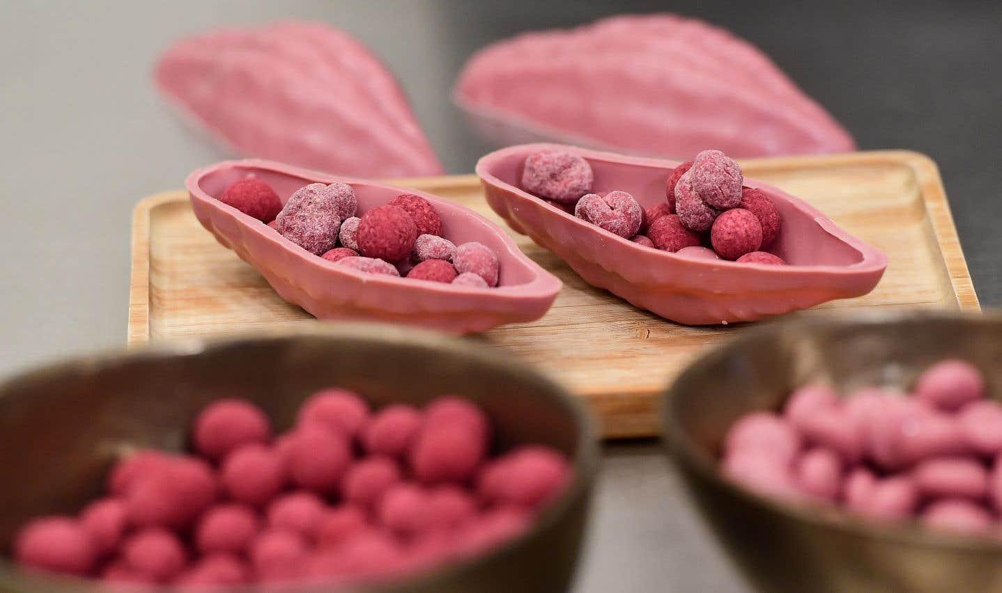 La couleur rubis du chocolat est obtenue naturellement, sans ajout de colorant, d'arômes ou de baies, à partir de fèves de cacao du même nom.
