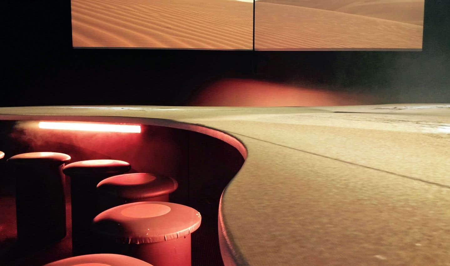 Le spectacle «Terra mutantès» permet de connaître les origines du relief appalachien, assis autour d'une table interactive qui s'anime au rythme du déplacement des océans, de volcans qui crachent le feu, de glaciers qui avancent en écorchant les montagnes...