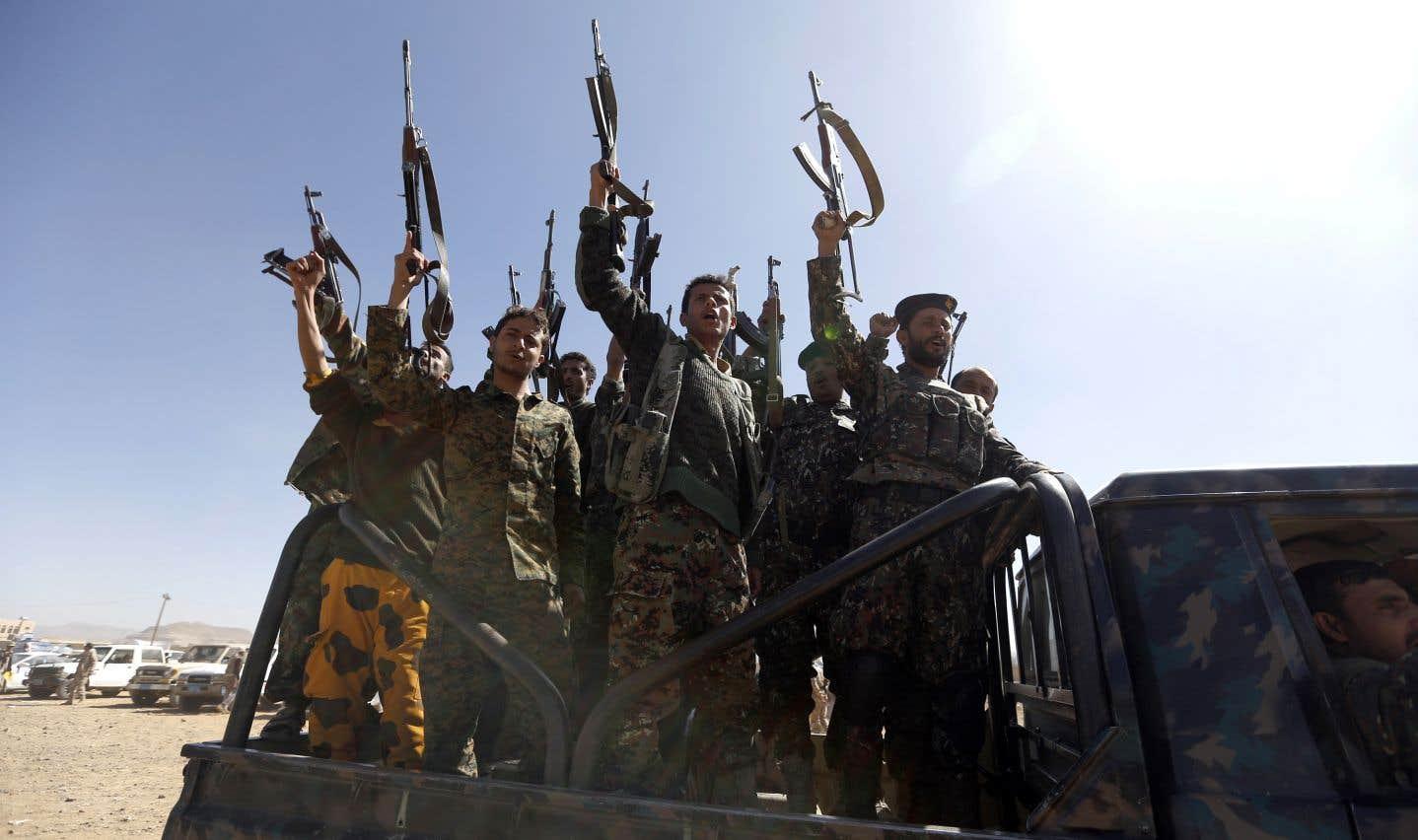 Des combattants houthis nouvellement recrutés, le 3 janvier dernier, à Sanaa, la capitale yéménite