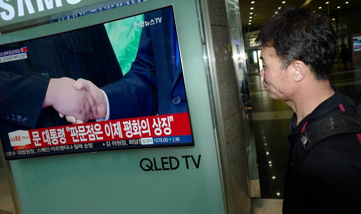 À Séoul, la plupart des télés diffusaient en direct des images du sommet de Panmunjom.