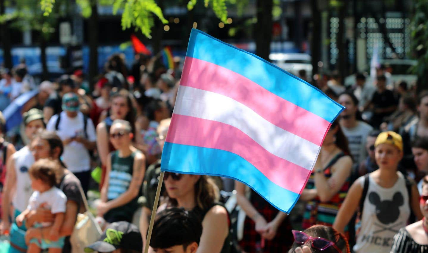 Sous un soleil plombant, des centaines de personnes défilaient fièrement sur la rue Sainte-Catherine pour célébrer l'identité trans.