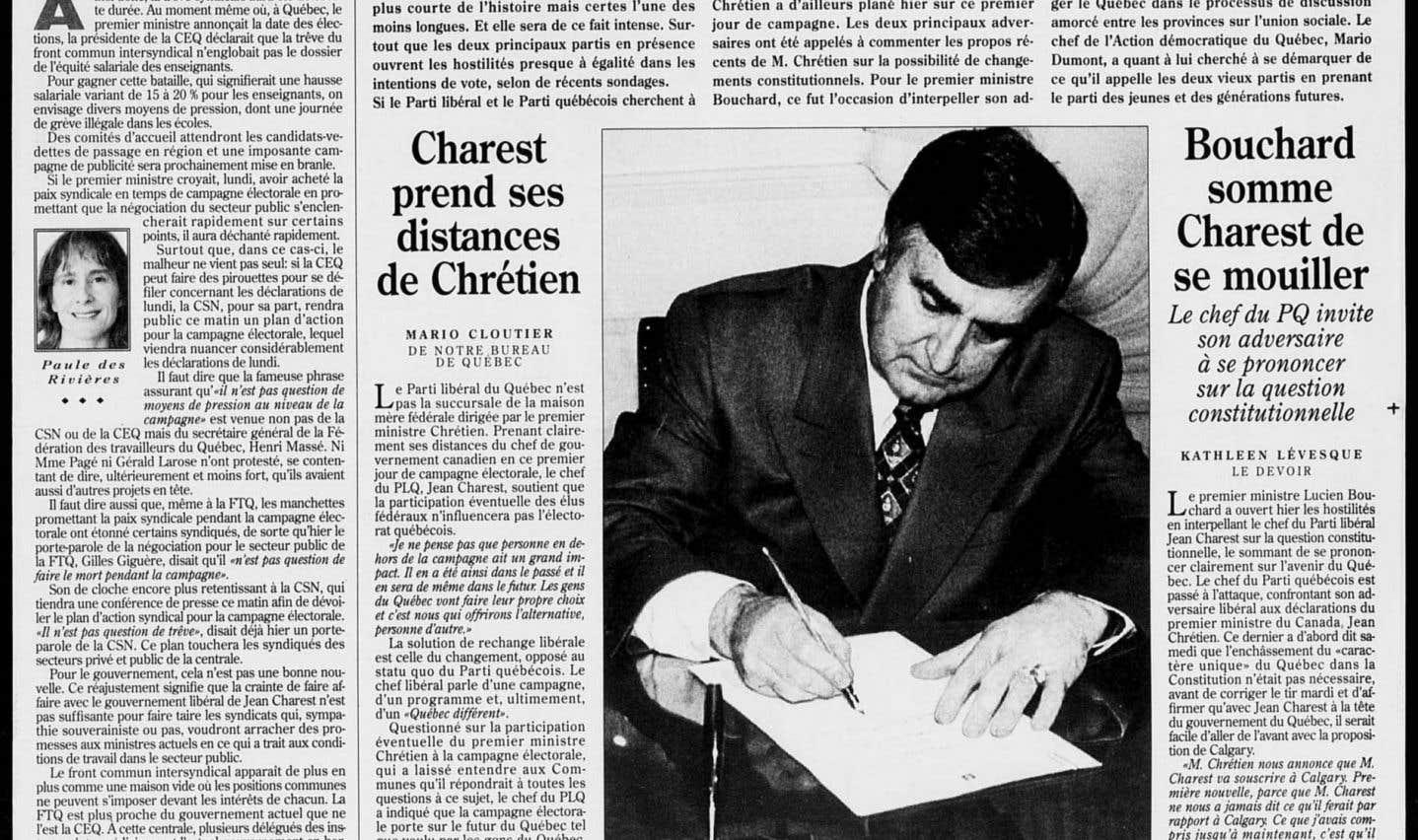 La une du «Devoir» du 29 octobre 1998