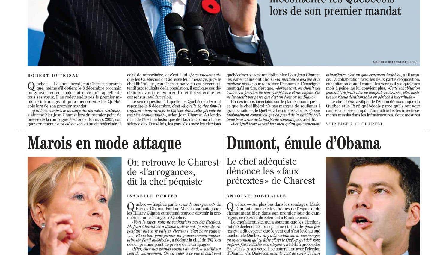 La une du «Devoir» du 5 novembre 2008