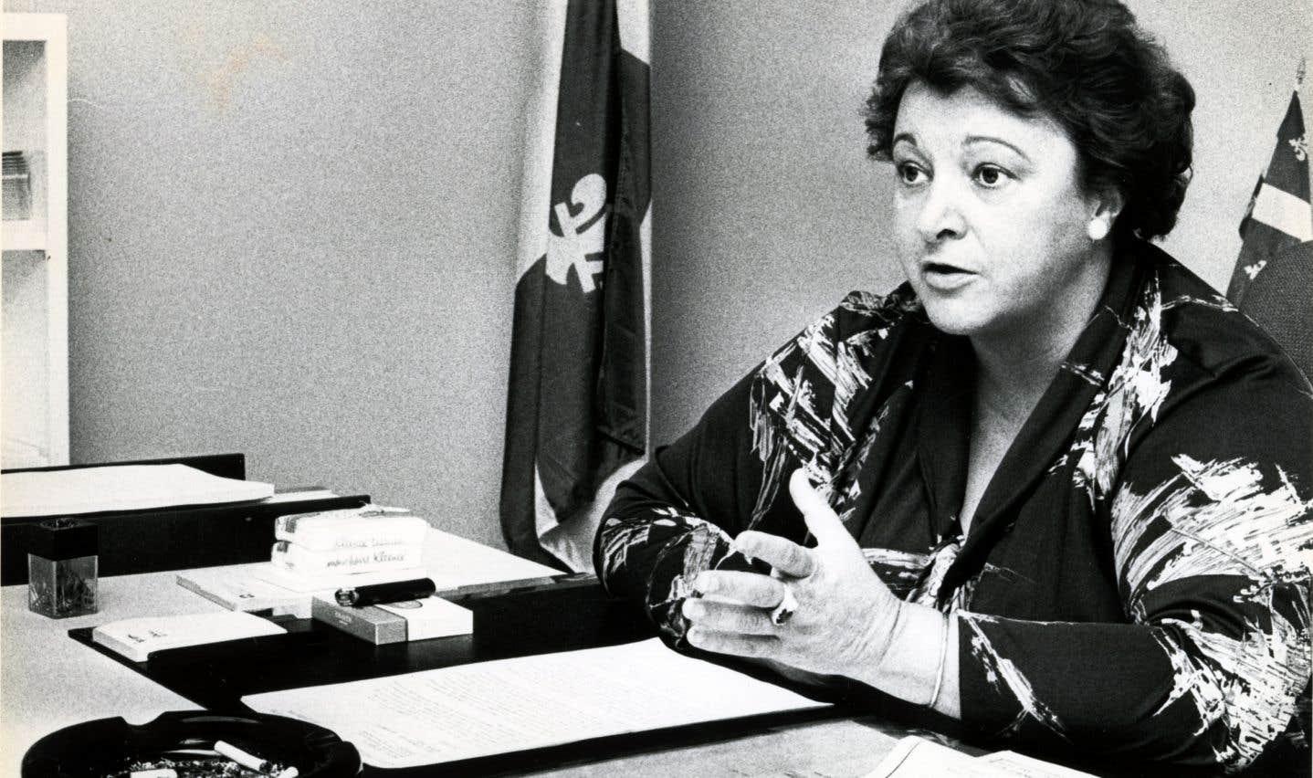 Lise Payette en mai 1979 alors qu'elle goûtait à la scène politique.