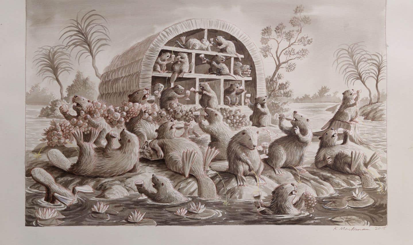 Kent Monkman, «Étude pour la Bacchanale des castors», 2015