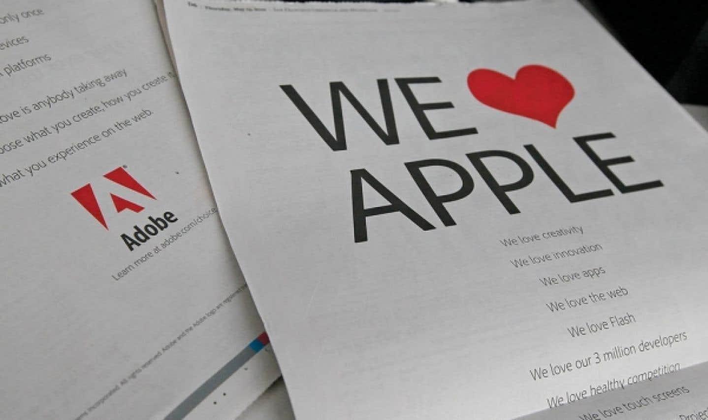 En mai, Adobe s'était offert une pleine page du San Francisco Chronicle pour protester contre la décision d'Apple de tenir Flash à l'écart.