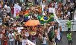 Manifestation dans les rues de Porto Alegre, à l'occasion du Forum social qui s'y tenait jusqu'à samedi dernier.