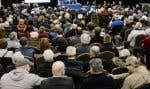 Une séance des audiences publiques du BAPE sur le projet Énergie Est à Lévis, en mars dernier