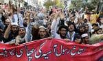 Des partisans du Jamiat Ulema-e-Islam, un parti politique religieux radical, ont manifesté jeudi contre l'acquittement d'Asia Bibi, à Quetta.