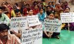 En Inde, des travailleurs de la construction, appuyés par leurs familles, ont même fait la grève pour qu'on banisse l'amiante.