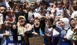 Des Syriens régfugiés en Turquie ont également manifesté hier.
