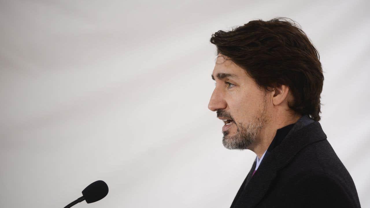Le premier ministre Justin Trudeau lors de son point de presse quotidien