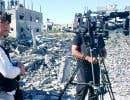 La reporter Marie-Ève Bédard et le caméraman Sylvain Castonguay à Gaza